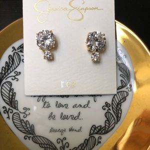 Jessica Simpson CZ 'Diamond' Earrings w goldtone